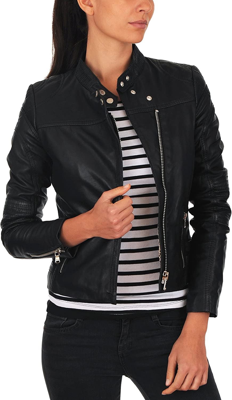 100% New Genuine Leather Lambskin Women Biker Motorcycle Jacket Ladies LTN227