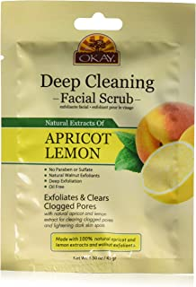 Okay Apricot & Lemon Facial Scrub Deep Exfoliation Leaves Skin Refreshed with Natural Extract Sulfate, Paraben And Alcohol...