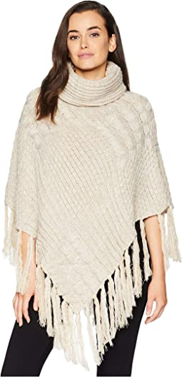 BSP3544 Turtleneck Fringe Knit Poncho