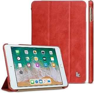 iPad Mini 5 /4 Case Case, Jisoncase 2019 iPad Mini 5/4 Genuine Leather Trifold Case, Ultra Slim iPad Mini 5 Smart Cover with Auto Sleep/Wake Function for iPad Mini 5th / 4th Generation Red