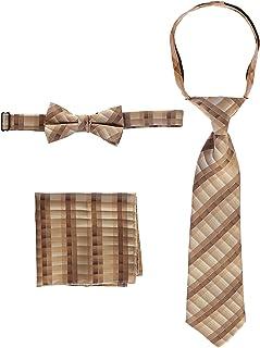 Gioberti Kids and Boys' Plaid Tie, Bow Tie and Handkerchief Set