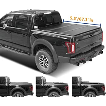 Lyon cover 5.5ft 67.1 inches Hard Tri-Fold Truck pickup Bed for 2015-2021 F150 Tonneau Cover | LED Lamp | 3 Years Warranty |