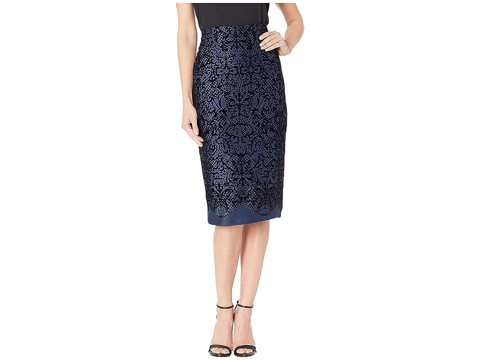 eci Flocked Scuba Pencil Skirt (Navy) Women
