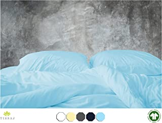 500-Thread-Count Organic Cotton Duvet Cover – 500TC Twin & Twin XL Size Ice Blue Color – for Bedding - 100% GOTS Certified Extra Long Staple, Soft Sateen Weave Finish - Luxury Collection