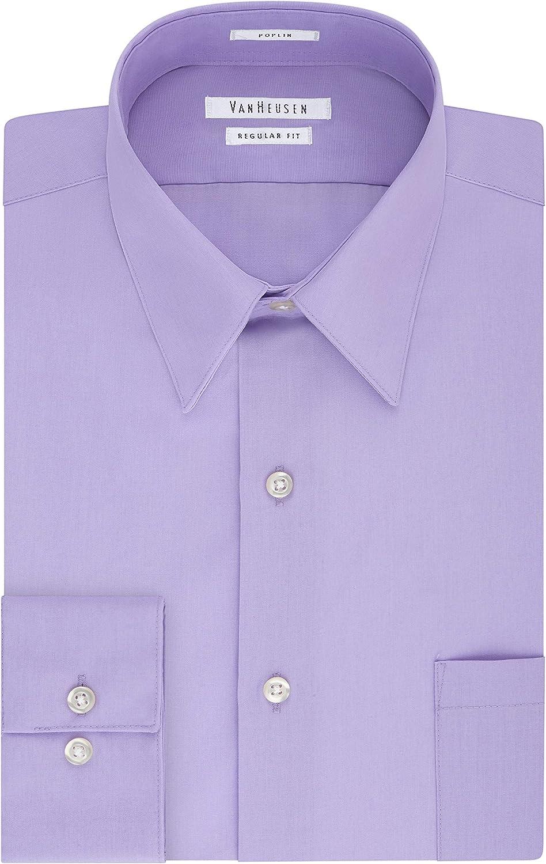 Van Heusen Many popular brands Men's Dress Shirt free Fit Regular Solid Poplin