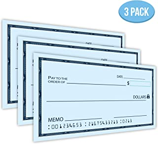 """[UPGRADED] Dry Erase 16"""" x 24"""" Oversize Giant Check - Large Fake Checks - Reusable Big Blank Presentation Check for Charity Donation, Lottery, Raffle, Novelty, Fundraiser, Endowment (Pack of 3)"""