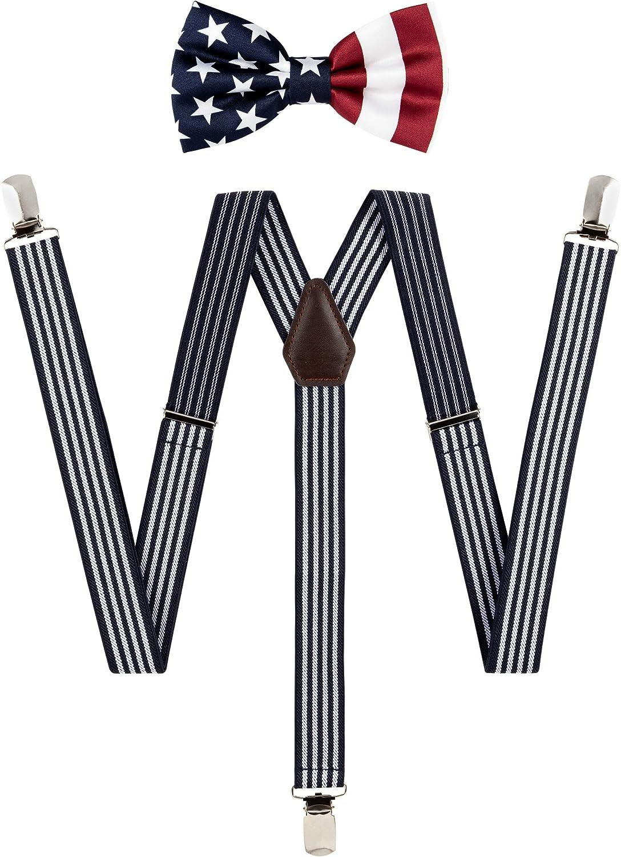 TIE G Solid Color Men's Suspender + Woven Bow Tie Set for Wedding : Vivid Color, Adjustable Brace, Strong Clip, Elastic Band