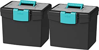 Storex Portable File Box, with Lockable XL Supply Storage Lid and Carry Handle, Black/Teal, 10.9 x 11 x 13.25 Inches, 2-Pack  (61414B02C)
