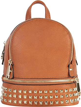 b4bf4a97ab44 PU Leather Golden Studded & Zipper Décor Mini Chic Backpack ...