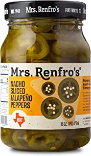 Mrs. Renfro's Nacho Sliced Jalapeno Peppers, Gluten Free, No Added Sugar, 16 oz Jar, Pack of 2