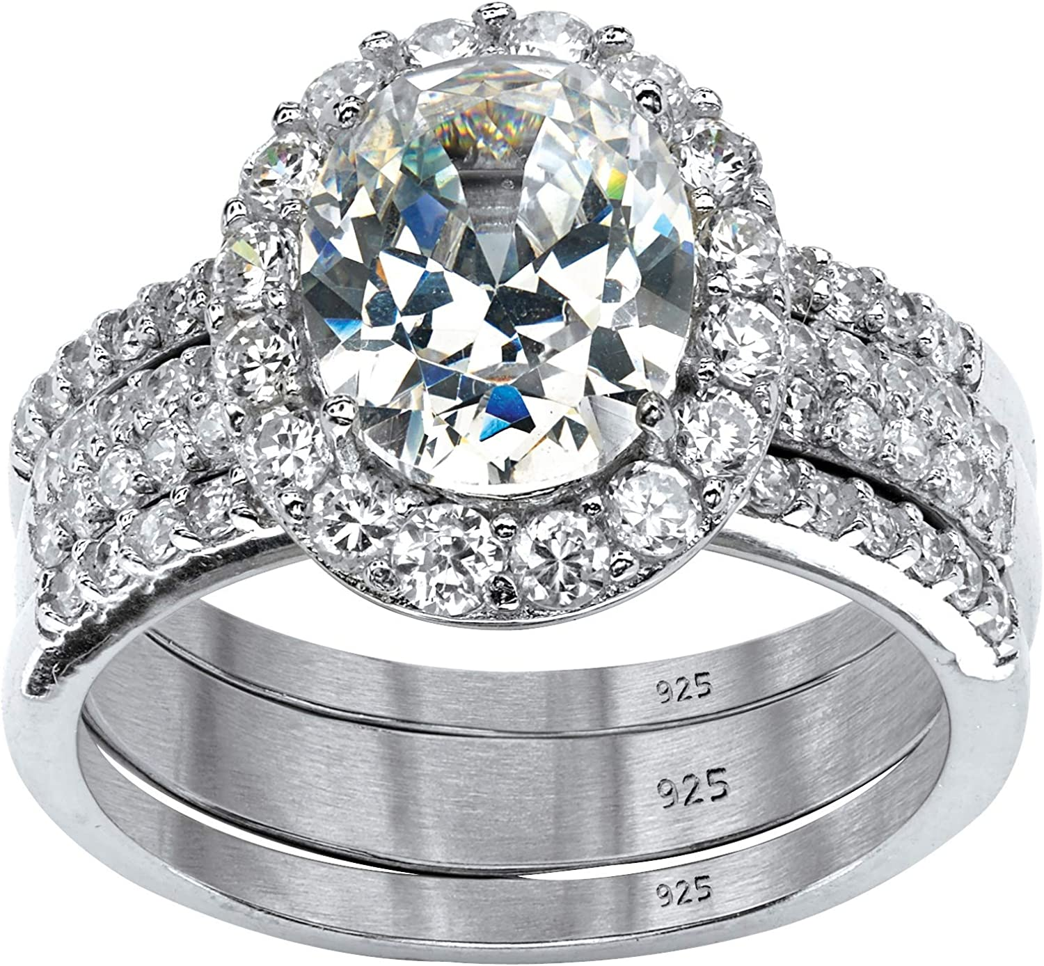 Platinum over Sterling Silver Oval Cubic Shaped Zirconia Br Halo Max 80% Tampa Mall OFF
