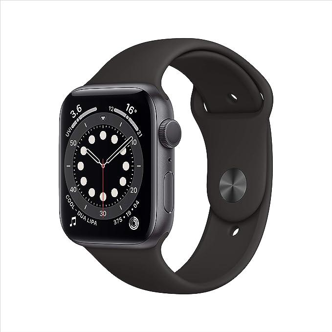 ساعة أبل الاصدار 6، مقاس 44 ملم، جي بي اس، إطار رمادي، سوار أسود رياضي