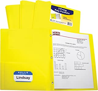 C-Line Two-Pocket Heavyweight Poly Portfolio with Prongs, For Letter Size Papers, Includes Business Card Slot, 1 Case of 25 Portfolios, Yellow (33966-25)