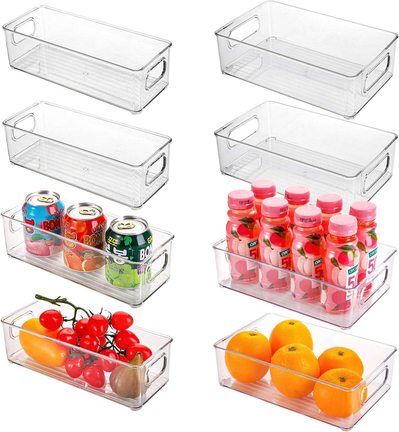 Kingrol 8 Pack Plastic Storage Bins for Freezer, Pantry, Countertop, Cabinet Organization, Stackable Food Storage Organizer with Handles, BPA Free, 10 x 6 x 3 Inch, 10 x 4 x 3 Inch