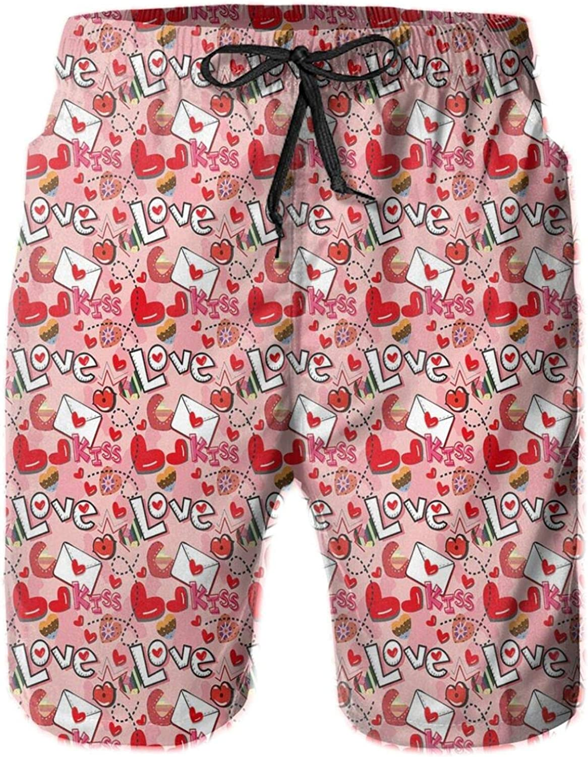 Crazy Love Theme Valentines Hearts and Kisses Envelopes Letters Girls Cartoon Pattern Swimming Trunks for Men Beach Shorts Casual Style,XXL