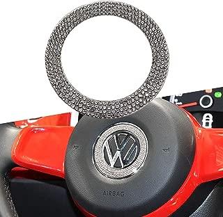 YaaGoo Steering Wheel Emblem Bling Crystal Cycle Decoration for VW Beetle 2011-2019 Golf 2011-2019 CC 2011-2018 etc.