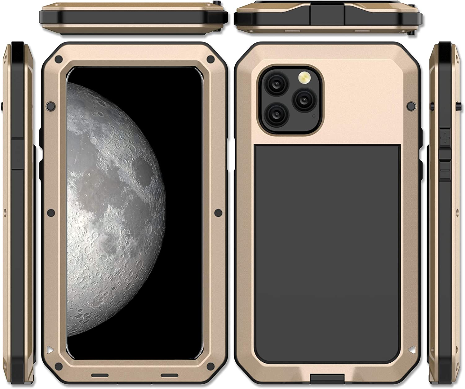 iPhone 11 Case, CarterLily Full Body Shockproof Dustproof Waterproof Aluminum Alloy Metal Gorilla Glass Cover Case for Apple iPhone 11 6.1 inch (Gold)