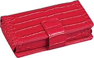 HealthSmart Travel Pill Case 7 Day Pill Organizer, Each Compartment 15 Pill Size, Snap Closure, Red Crocodile