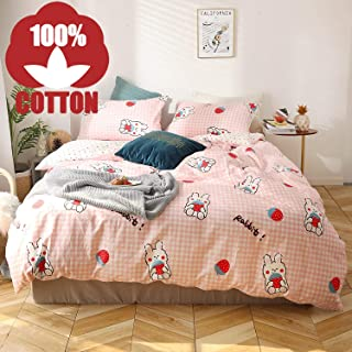 AOJIM 100% Coton Bedding Bedroom 3 pcs Sets with 2 Envelope Pillowcase, Soft Duvet Cover for Kids/Teens/Adults Hidden Zipper Quilt Cover Printed Strawberry (Strawberry & Rabbit, Twin)