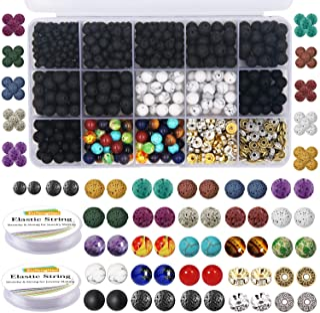 EuTengHao 715Pcs Lava Beads Stone Rock Beads Glass Beads Bracelet Making Kit with Chakra Beads Spacer Beads Bracelet Elast...