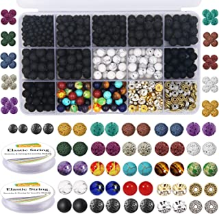 EuTengHao 715Pcs Lava Beads Stone Rock Beads Glass Beads Bracelet Making Kit with Chakra Beads Spacer Beads Bracelet Elastic String for Diffuser Essential Oils Bracelets DIY Jewelry Making Supplies