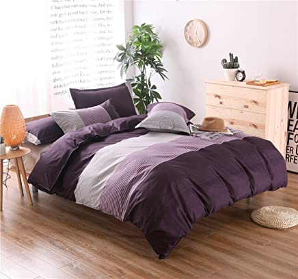 Tenghe Stripe Colorblock Print 3 Pcs Duvet Cover Sets Soft Reversible Bedding Cover Brushed Microfiber Full Queen Size(Queen, Purple Stripe)