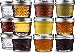 Ball Mini Quilted Crystal Jelly Jars 4 oz [12 Pack] Regular Mouth Mason Jars With Airtight lids and Bands For Canning, Pre...