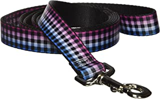 Dog Leash Buffalo Plaid Turquoise Fuchsia Fade 4 Feet Long 1.0 Inch Wide