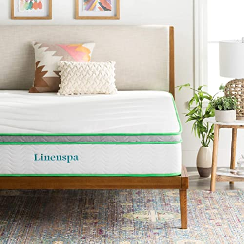 LINENSPA 10 Inch Latex Hybrid Mattress - Supportive - Responsive Feel - Medium Firm - Temperature
