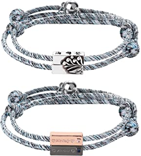 LOYALLOOK 4Set Magnetic Couples Bracelets Mutual Attraction Relationship Matching Bracelet Braided Rope Charm Pendants Bra...