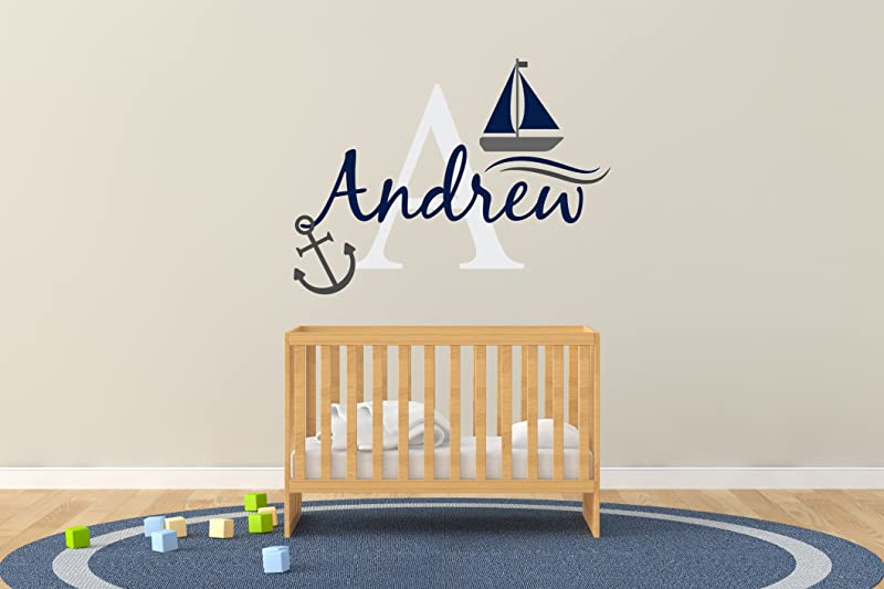 Custom Name Initial Boat And Anchor Nautical Theme Baby Boy Nursery Wall Decal For Baby Rom Decorations Mural Wall Decal Sticker For Home Children S Bedroom R50 Wide 30 X22 Height