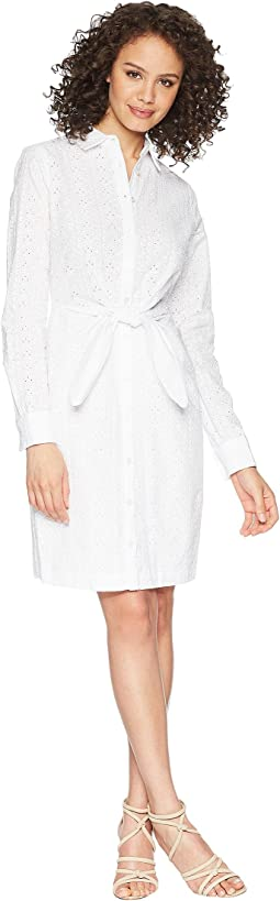 Tie Front long Sleeve Eyelet Shirtdress CD8G17HW