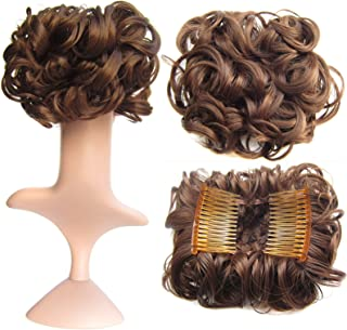 SWACC Short Messy Curly Dish Hair Bun Extension Easy Stretch hair Combs Clip in Ponytail Extension Scrunchie Chignon Tray Ponytail Hairpieces (Dark Brown Medium Auburn Mixed-4/30#)