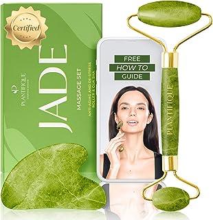 Premie gecertificeerde Jade Roller voor huidverzorging - 100% natuurlijke jade steen - Anti- veroudering gezichtsmassage r...