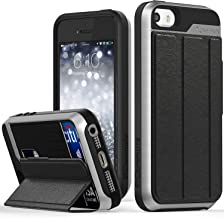 iPhone SE Wallet Case, Vena [vCommute][Drop Protection] Flip Leather Cover Card Slot Holder with Kickstand for Apple iPhone SE 5 5S (Space Gray/Black)