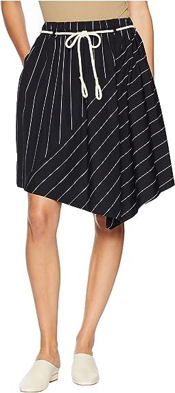 Skinny Stripe Asymmetric Skirt
