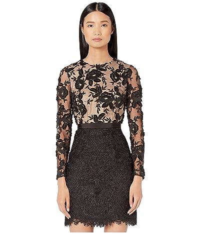ML Monique Lhuillier Floral Calypso Lace Dress (Black/Nude) Women