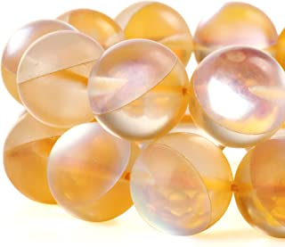RUBYCA 6mm Round Moonstone Matte Crystal Glass Beads Aura for Jewelry Making Gold, 1 Strand