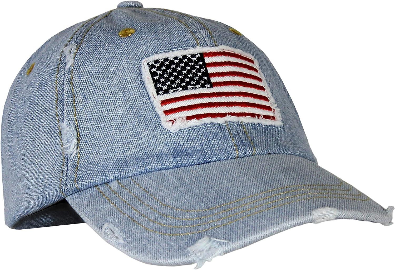 USA Vintage Washed Distressed Denim Baseball Hat, American Flag Adjustable Dad Cap