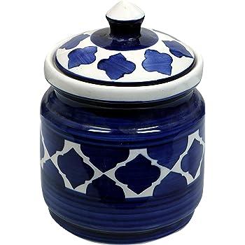 RAJ ROYAL Blue Pottery Hand Paintaed Mughal Ceramic Cornichon Storage Jar for Pickle | 1.25 KG