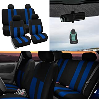 FH Group Striking Striped Seat Covers Airbag & Split Ready w. Free Air Freshener, Blue/Black Color- Fit Most Car, Truck, SUV, or Van