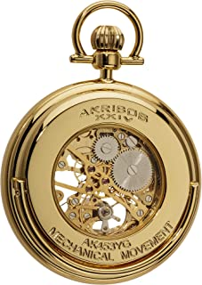Men's Mechanical Skeleton Pocketwatch - Sunray Pattern Dial with Chain Comes with Built-in Glass Display - AK453