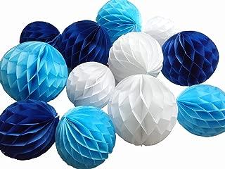 Daily Mall 12Pcs 8inch 10 inch Art DIY Tissue Paper Honeycomb Balls Party Partners Design Craft Hanging Pom-Pom Ball Party Wedding Birthday Nursery Decor (White Blue Navy blu