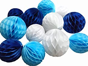 Daily Mall 12Pcs 8inch 10 inch Art DIY Tissue Paper Honeycomb Balls Party Partners Design Craft Hanging Pom-Pom Ball Party Wedding Birthday Nursery Decor (White Blue Navy blu