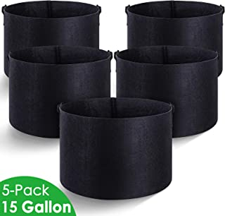 MAXSISUN 5-Pack 15 Gallon Plant Grow Bags, Heavy Duty Thickened Non-Woven Aeration Fabric Pots Container with Reinforced Handles for Gardening