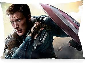 DoubleUSA Generic Captain America Chris Evans Pillowcases Two Sides Print Zipper Pillow Covers 20x30