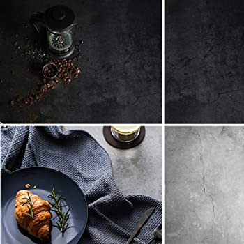 Selens 両面背景紙 写真撮影背景紙 バックペーパー ペーパーシート 大理石 復古調 56x88cm 商品撮影 自宅 雑誌 美食撮影など ブラック&グレー