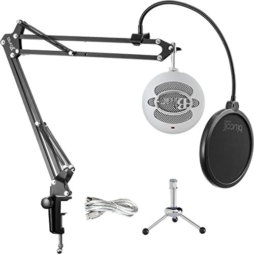 2021 Blue Snowball USB Microphone with Metal Mic Stand for Podcasting, Live Streaming, Skype/VOIP Calls, Music Recording on Windows and Mac 2021 (Textured outlet online sale White) Bundle with Blucoil Boom Arm Plus Pop Filter online