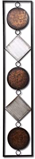 WHW Whole House Worlds Modernist Floating Circles and Squares, Rectangle Frame Metal Wall Art, Artisan Crafted, Rustic Gray, Bronze,Gold and Silver Painted Iron, Over 3 Ft Long, Plaque