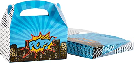 Treat Boxes - 24-Pack Paper Party Favor Boxes, Pop Art Comic Design Goodie Boxes for Birthdays and Events, 2 Dozen Party Gable Boxes, 6 x 3.3 x 3.6 inches